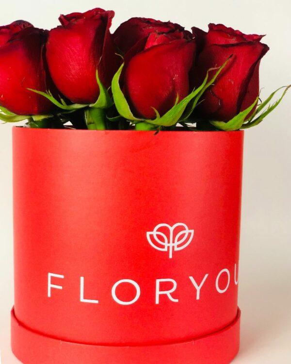 Rojo corazón, Caja de rosas en Puebla, Caja de rosas, florerías en Puebla