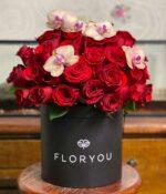 Mi ideal, Caja con rosas con Orquideas en Puebla, Caja de rosas, florerías en Puebla