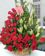 Amor real, Canasta de flores y rosas Querétaro, Florerías en Querétaro, Flores a domicilio Querétaro