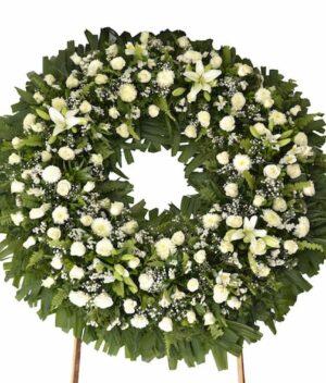Condolencias, Corona de flores fúnebre Querétaro, Florerías en Querétaro, Flores a domicilio Querétaro