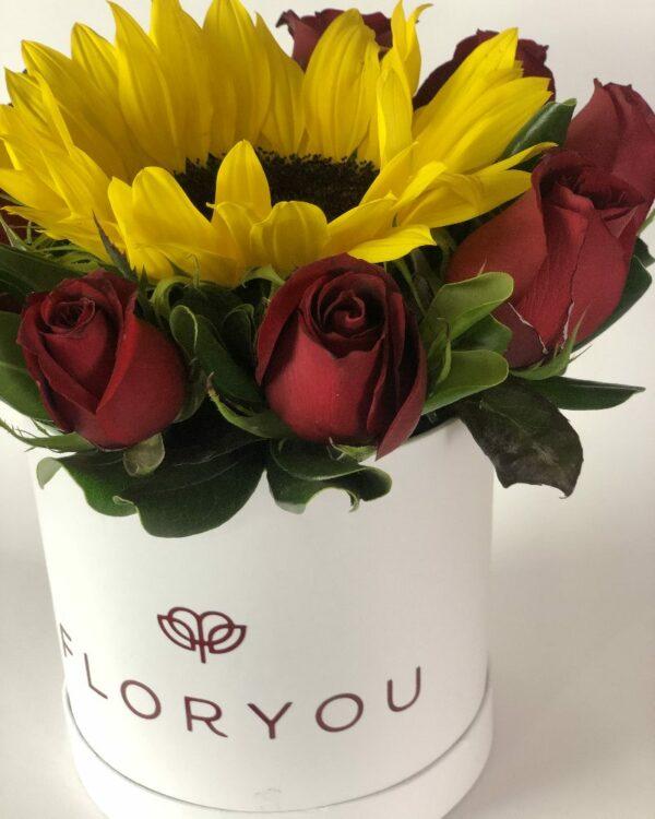 Eclipse de amor, caja de rosas en Querétaro, caja de rosas y girasol, florerías en Querétaro