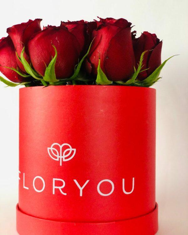 Rojo corazón, caja de rosas en Querétaro, caja de rosas y girasol, florerías en Querétaro