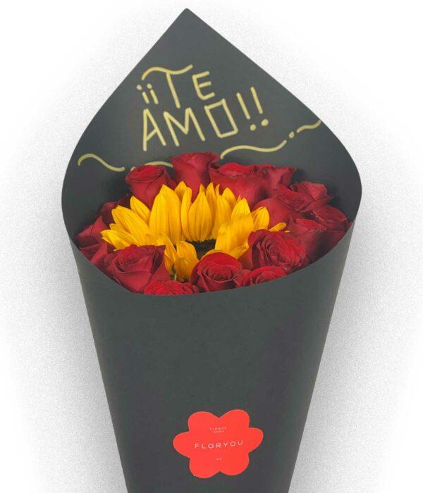 Sol de mi vida, bouquet de rosas en Querétaro, bouquet de rosas con girasol, florerías en Querétaro