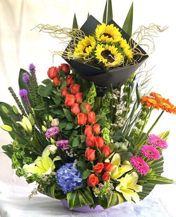 Cortejo al sol, arreglo de flores en Querétaro, arreglo de flores, florerías en Querétaro
