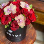 Deseo, caja de rosas en Querétaro, caja de rosas con orquideas, florerías en Querétaro