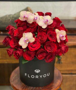Mi ideal, caja de rosas en Querétaro, caja de rosas con orquideas, florerías en Querétaro