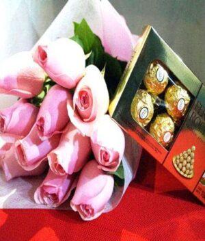 ramo de rosas rosas + chocolates