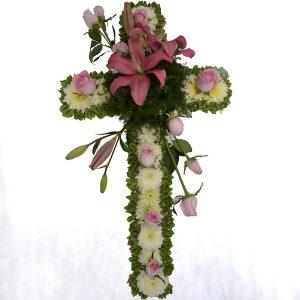 cruz de flores para funeral pachuca
