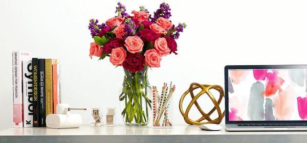 rosas y claveles para la oficina