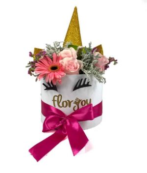 Caja de flores unicornio, florerias en Pachuca, Envío de flores a domicilio Pachuca