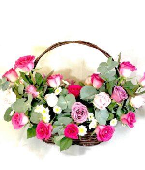 Canasta de flores con rosas - Arreglo de flores - Florerías en Pachuca FlorYou