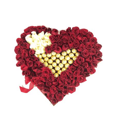 caja de rosas grande - florerías pachuca - flores a domicilio pachuca
