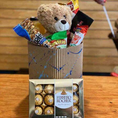 Caja de dulces y peluche, florerias en Pachuca, Envío de flores a domicilio Pachuca