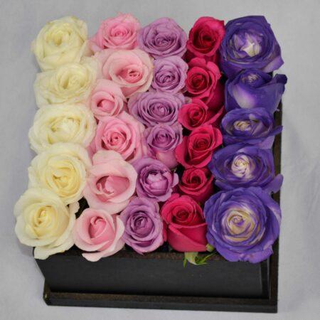 Caja de rosas de colores, florerias en Pachuca, Envío de flores a domicilio Pachuca