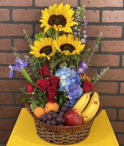 Canasta de flores y frutas - Florerias en Pachuca