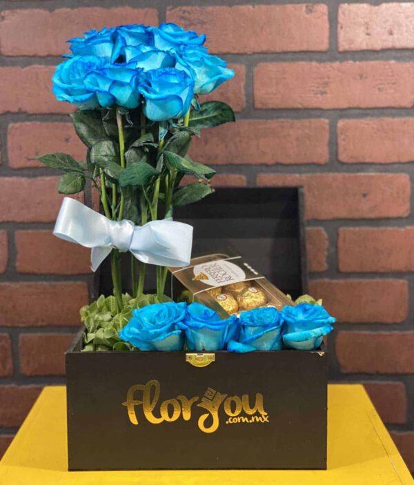 caja de rosas azules, florerias en Pachuca, Envío de flores a domicilio Pachuca