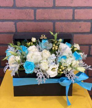 caja de flores azules, florerias en Pachuca, Envío de flores a domicilio Pachuca